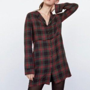ZARA TRAFALUC PLAID DRESS BUTTON DOWN FRONT POCKET